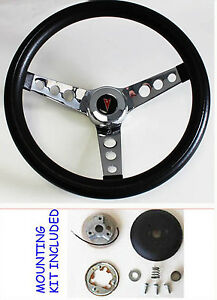 "1969-1993 Pontiac GTO Firebird Black GRANT Steering Wheel 15/"" Stainless Spokes"