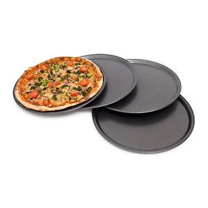 Pizzablech rund 4er Set Backset Backblech Pizzabackblech Metallblech Pizzateller