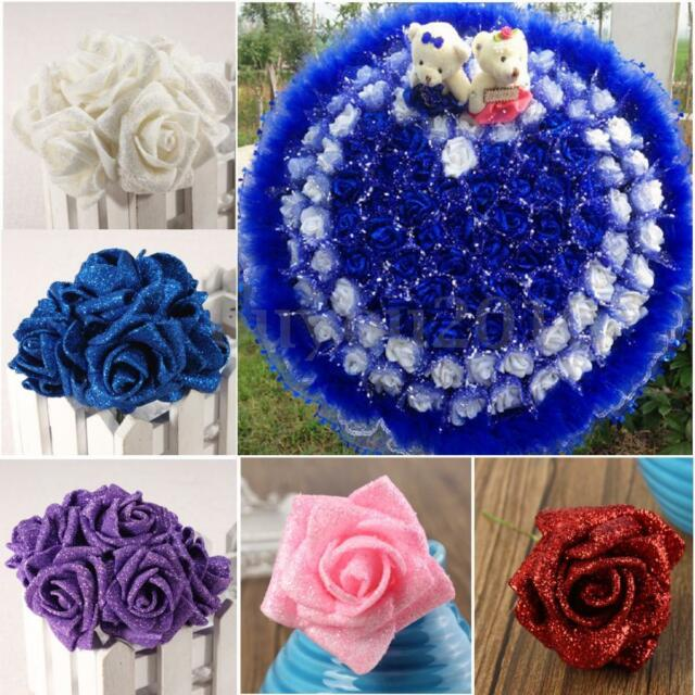 7x Colourfast Foam Artificial Rose Flowers Wedding Bride Bouquet Party Decor DIY