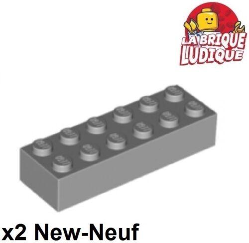Lego 2x Brique Brick 2x6 6x2 gris//light bluish gray 2456 NEUF