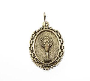 Catholique-Communion-chalice-gobelet-argent-chapelet-de-perles-medaille