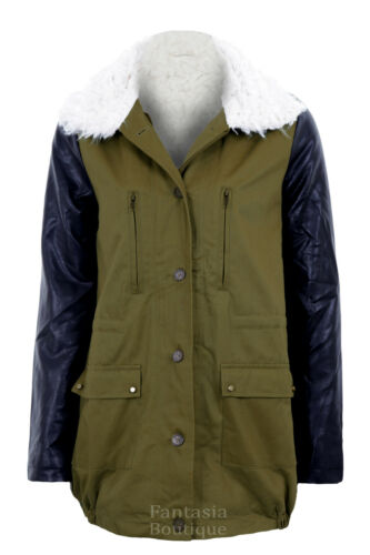New Ladies pvc Faux Leather Sleeves Khaki Contrast Fur Lined Womens Jacket  8-14