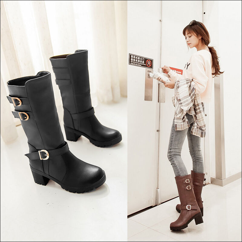 New fashion womens Korean knee high boot round toe mid chunky heel driving shoes