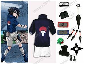 Details About Custom Made Naruto Sasuke Uchiha Cosplay Costume Set New