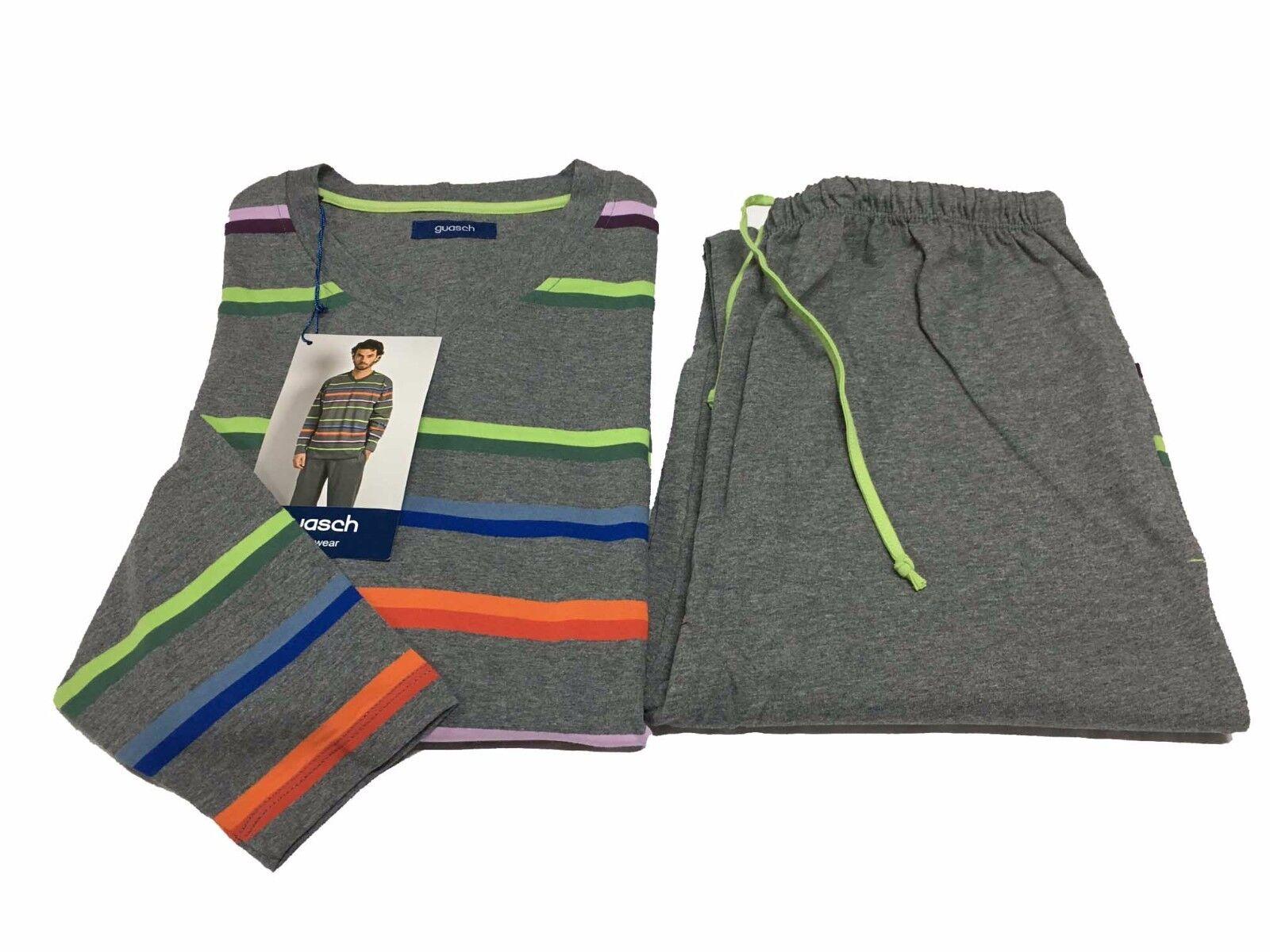 GUASCH Herren Pyjamas Herren grau/Mehrfarben 100% Baumwolle S-3