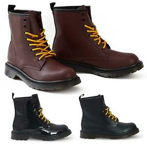Shelikes-Womens-Ankle-Boots-Vintage-Combat-Army-Flat-Lace-Up-Work-Military-Biker