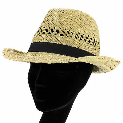 STRAW TRILBY HAT WITH BLACK BAND SUN BEACH FEDORA FESTIVAL UNISEX 3 Sizes