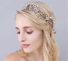 Gold Bridal Hair Accessories Crystal Leaf Vine Wedding Prom Rhinestone Headpiece