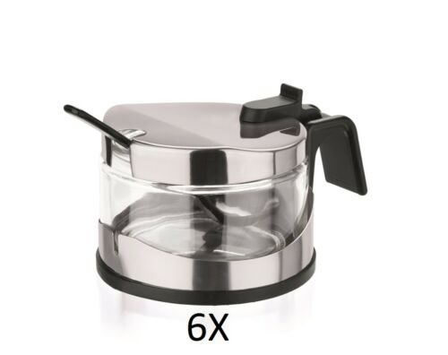 6X Menage Parmesan//Marmelade mit Edelstahllöffel