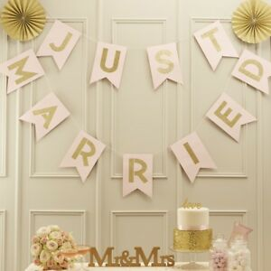 713d623ba62 Details about Ginger Ray Pastel Pink and Glitter Just Married Wedding  Bunting Banner, Gold
