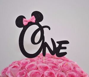 Outstanding Minnie Mouse Glitter One Cake Topper First Birthday Party Black Funny Birthday Cards Online Inifodamsfinfo