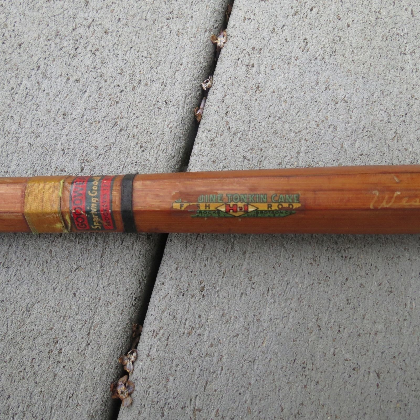 Vintage Goodwear Sporting Goods Co. HI Bamboo Fishing Rod West Point (L)