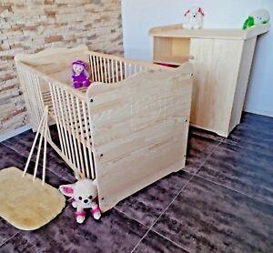 Détails sur Chambre de Bébé Complet Set Lit 70x140 Commode à Langer Bois  Massif Gravure