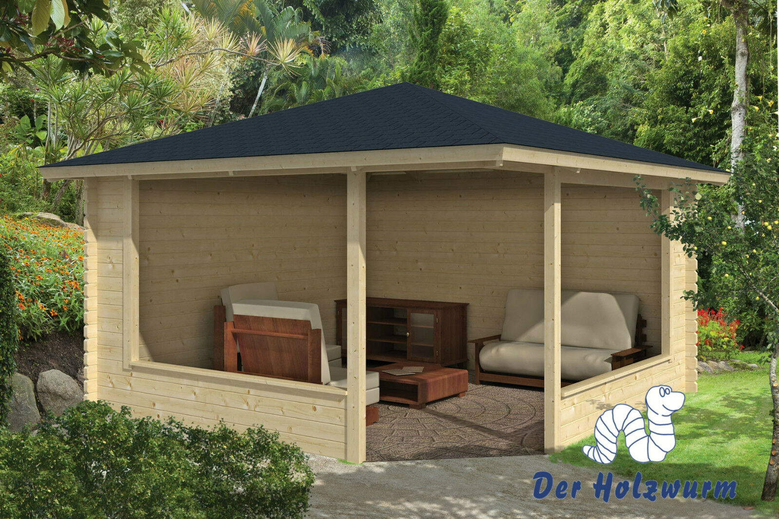 gartenhaus marit blockhaus 400x400 cm holzhaus 45mm pavillon holz neu pavillion ebay. Black Bedroom Furniture Sets. Home Design Ideas