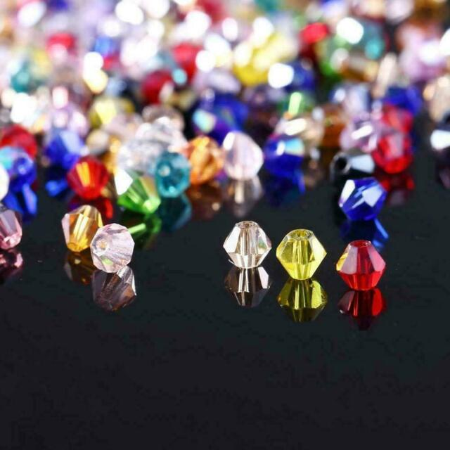 100PCS/Bag Crystal Glass Faceted Loose Spacer Beads lot Jewelry DIY 4mm 3mm 6mm