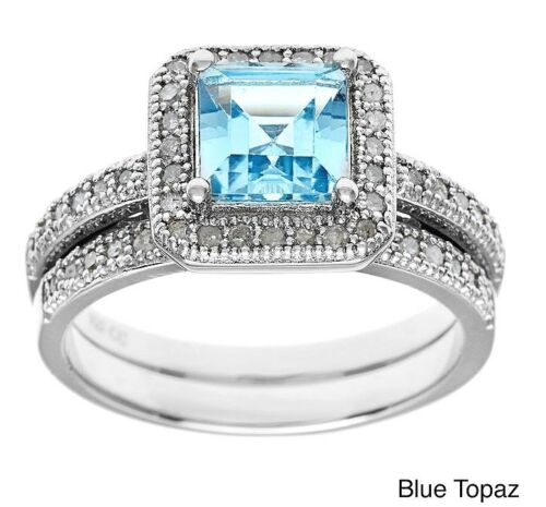 1.80ct Princess-Cut Blue Topaz and Pave Diamond Halo Ring-Set in Sterling Silver