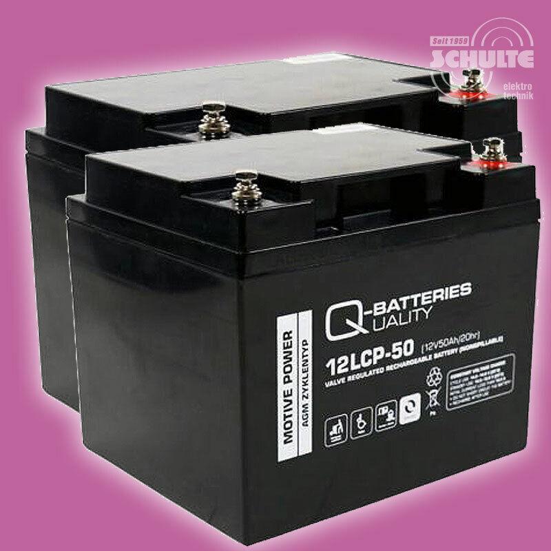 Akkus Ersatz-Batterien Elektroantrieb, 2 x 12V 50Ah Blei AGM 12LCP-50 Akku