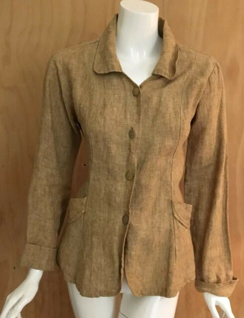 FLAX Jeanne Engelhart Natural Linen Shapely Jacket Tunic Top Shirt Lagenlook S