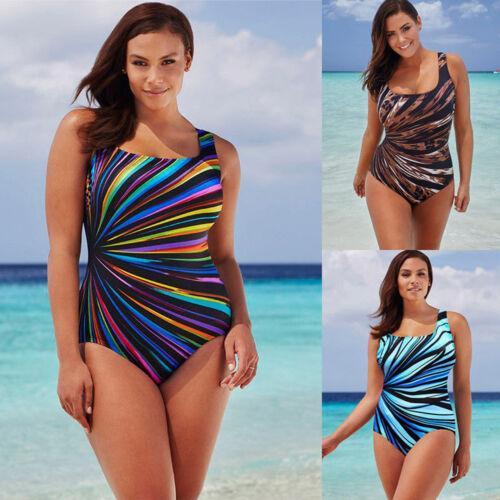 Women One Piece Monokini Push Up Padded Swimwear Rainbow Bathing Suit Plus Size