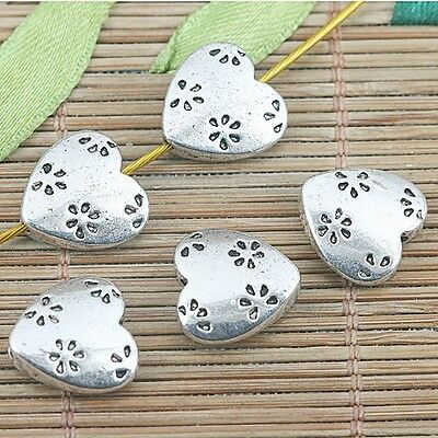 9pcs tibetan silver color 2sided flower heart shaped design spacer beads G2126