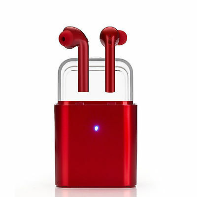 Wireless Bluetooth Airpod Earbuds In-Ear Earphones Headphones Apple iPhone 7-RED