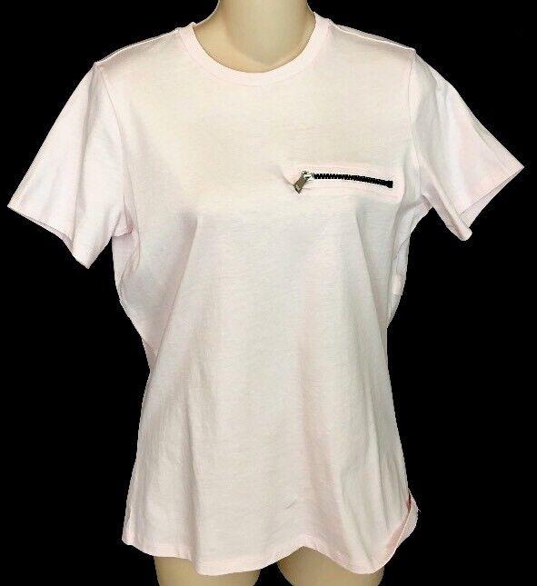 Mugler T-Shirt Calypso Pale Rosa Zipper Back Short sleeves Größe 36 NWT