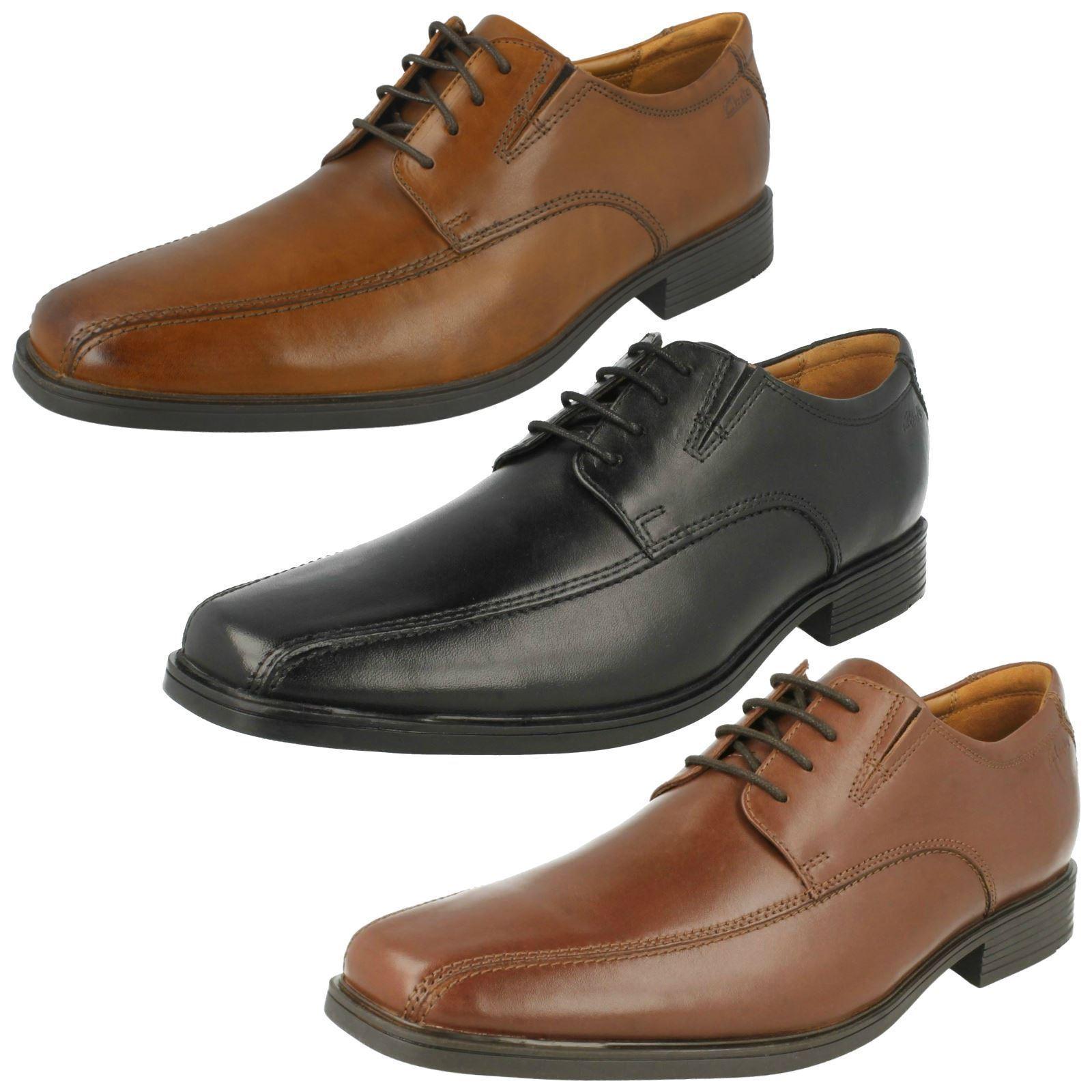 Mens Clarks Tilden Walk Black, Dark Tan Or Brown Leather Smart Lace Up shoes