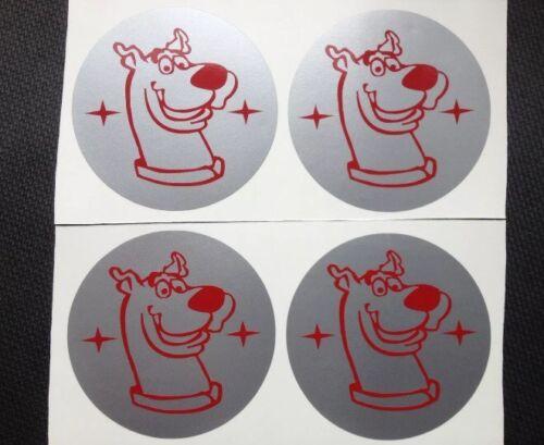 Scooby Doo Aleación Tapa Centro De Rueda Pegatina cubre X4 Sil y Rojo 50mm