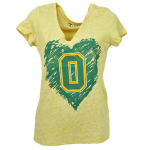NCAA-Oregon-Ducks-Heart-V-Neck-Yellow-Tshirt-Tee-Womens-Short-Sleeve-Distressed