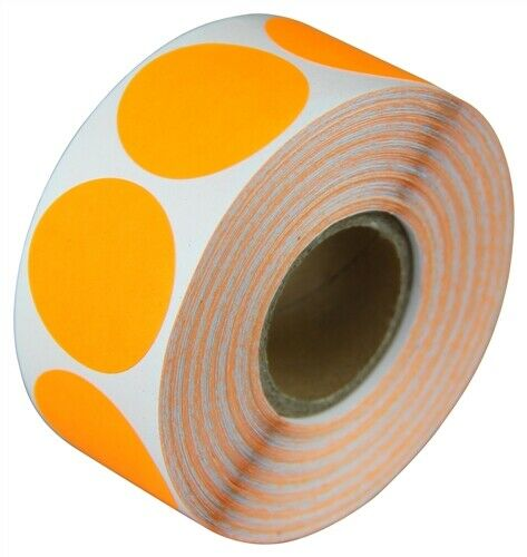"""20 Rolls Details about  /2/"""" Adhesive Code Stickers Orange Dot Inventory Coding Garage Labels"""