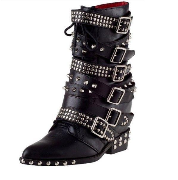 Gothic Pointy Toe Buckle Strappy Studs Spike Rivets Leather Combat Punk Boots L*