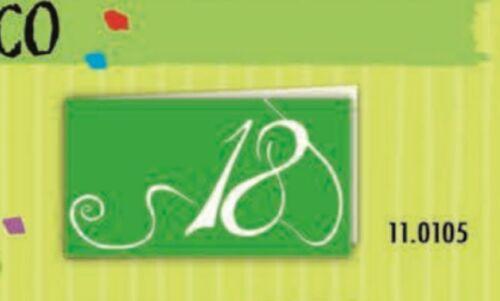 20 PZ Bigliettini bigliettino bomboniera DICIOTTESIMO 18 anni verde