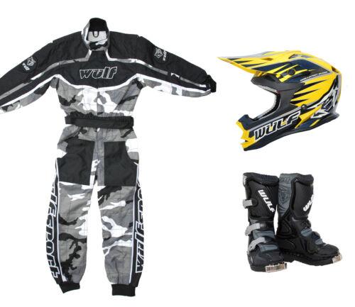 Kids Wulfsport MX Motocross Quad Karting Overall Helmet Boot Yellow Camo #O2