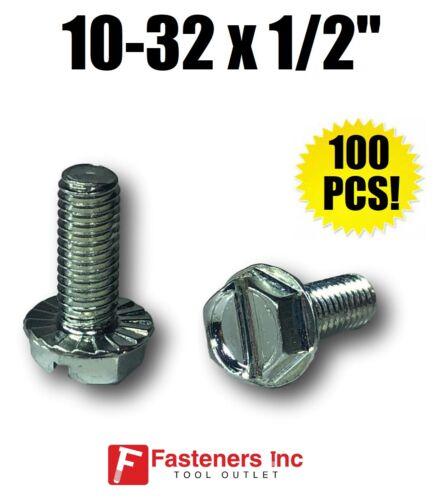 "10-32 X 1//2/"" Hex Serrated Flange Washer Head Machine Screw Zinc Plated QTY 100"