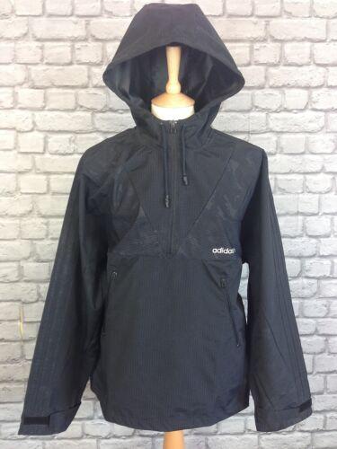 Entièrement neuf sans étiquette adidas homme uk l noir carte à capuche demi-zip veste