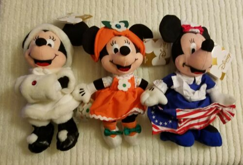 Lot Of 3 8in Minnie Mouse Bean Bag Plush Toys from the Disney Store
