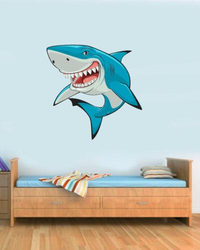 Shark Cartoon Sea Life Childs Bedroom Removable Vinyl Wall Art Car Sticker