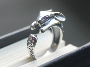 Adjustable-Ladies-925-Sterling-silver-Hare-ring-Animal-jewellery-Gift-for-her