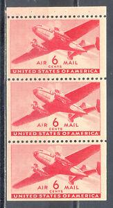 US-Stamp-L2054-Scott-C25a-Mint-NH-OG-Nice-Booklet-Pane-Air-Mail