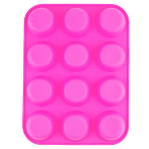 12-Tasse-Large-silicone-Bun-Muffin-Antiadhesif-Tin-plateau-de-cuisson-Gateau-Moule-Rose