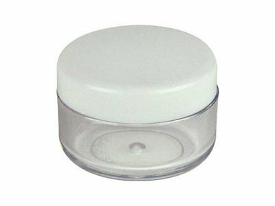 50 CLEAR PLASTIC JARS Makeup CONTAINER w/ White Screw On Lids - 5 GRAM / 5ml