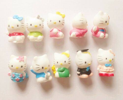 #Hq2~ LOT OF 10  Hello Kitty soft vinyl figure SET