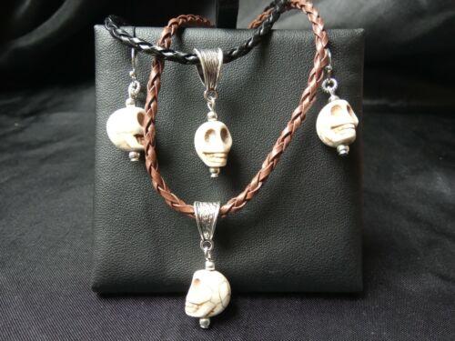 Halloween Skull carved Howlite stone drop dangle Hook EARRINGS Tribal Bohemian