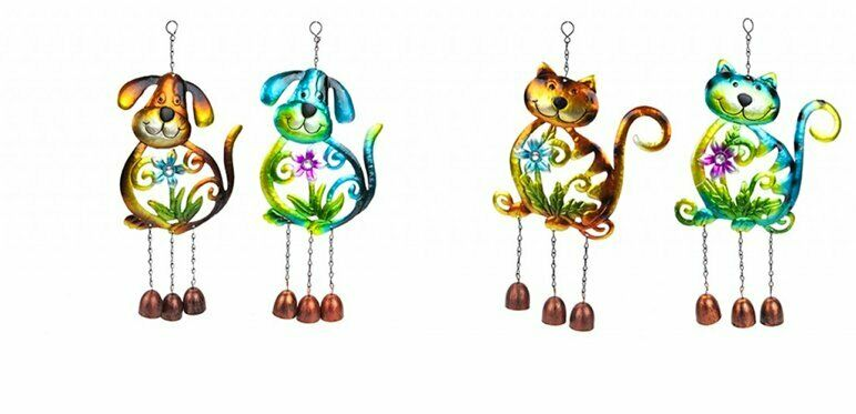New Colours Metal Hanging Dog or Cat Wind Chime Bells Garden Decor Choice of Col