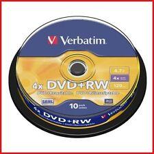 Verbatim DVD+RW 4.7GB 4x Speed 120min Rewritable DVD Disc Spindle Pack 10 (43488