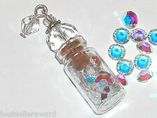 1 Glass Small crystal bottle vial tube with Swarovski crystals necklace pendant