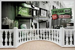 Huge-3D-Balcony-Stop-Global-Warming-Wall-Stickers-Wallpaper-Mural-863