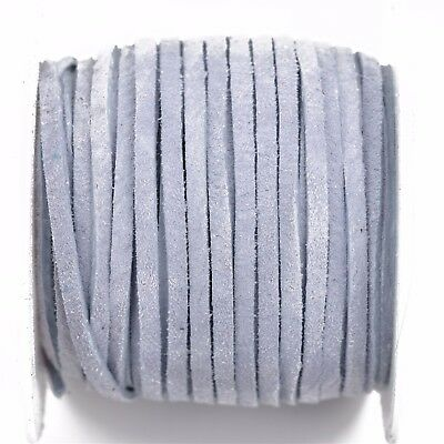 """25yd 1//8/"""" Flat SUEDE Leather Lace Realeather 3mm LIGHT BLUE Lth0028"""