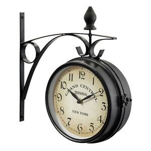 Grand Central Station Double Sided New York Decor Clock Black Metal Ebay