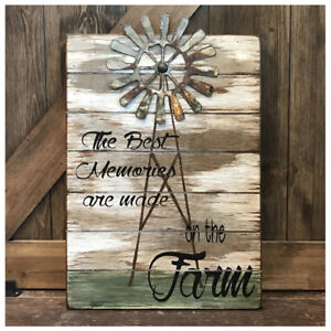FARMHOUSE-DECOR-Best-Memories-are-made-on-the-FARM-Wood-Sign-w-WINDMILL-14x20